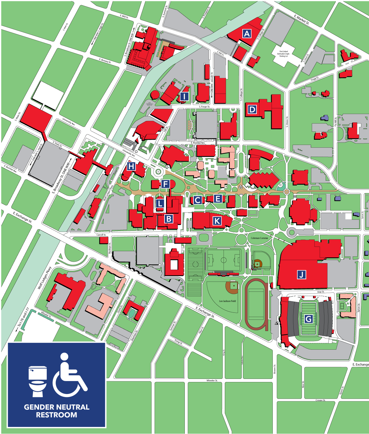 Map showing the gender-neutral bathrooms on The University of Akron campus
