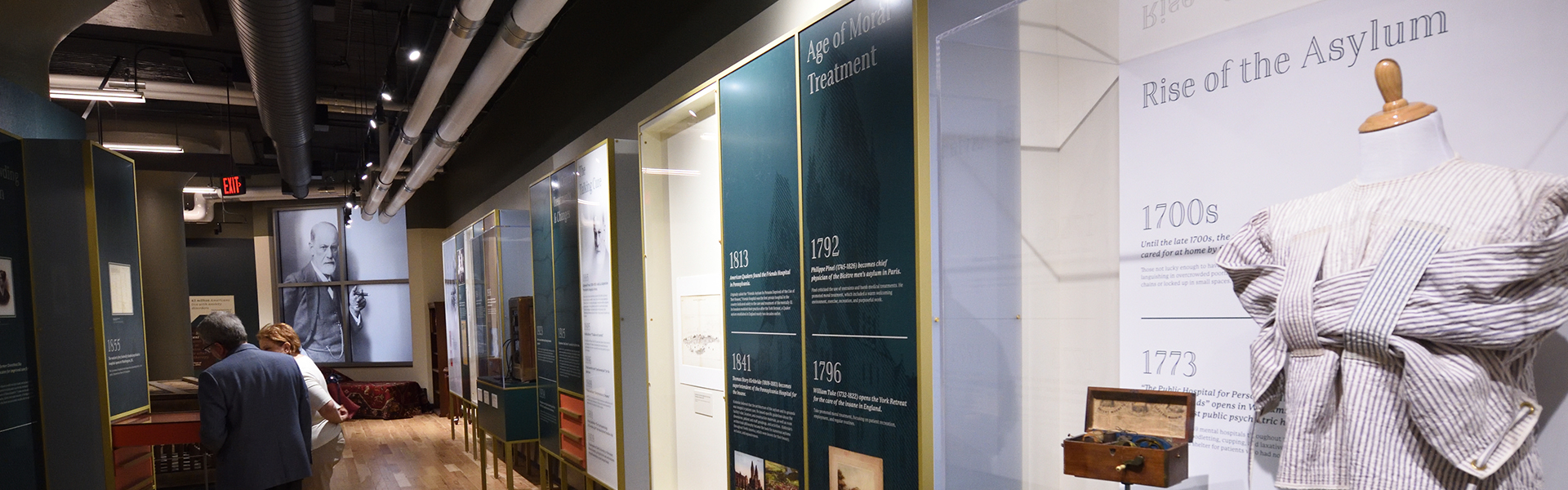 museum displays about asylums and Sigmund Freud