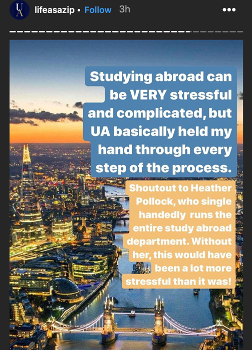 UA Student testimonial about their study abraod experience