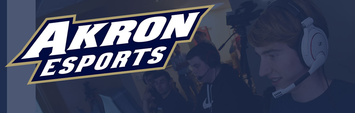 The University of Akron esports logo and banner of players