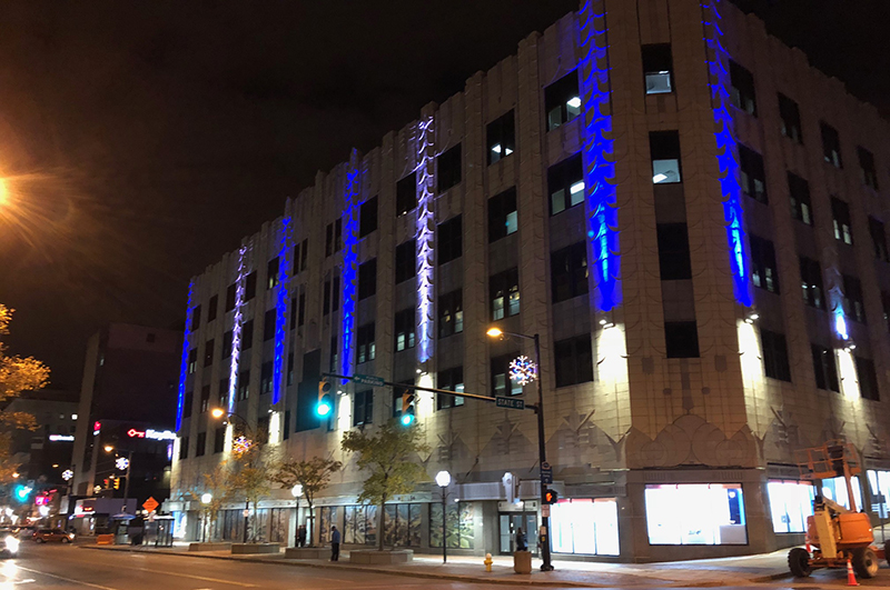 Polsky Building lights