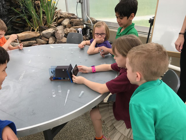first-grade students using the spectrometer