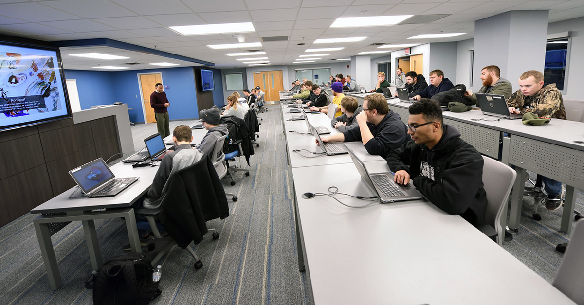 A cybersecurity classroom with computer equipment