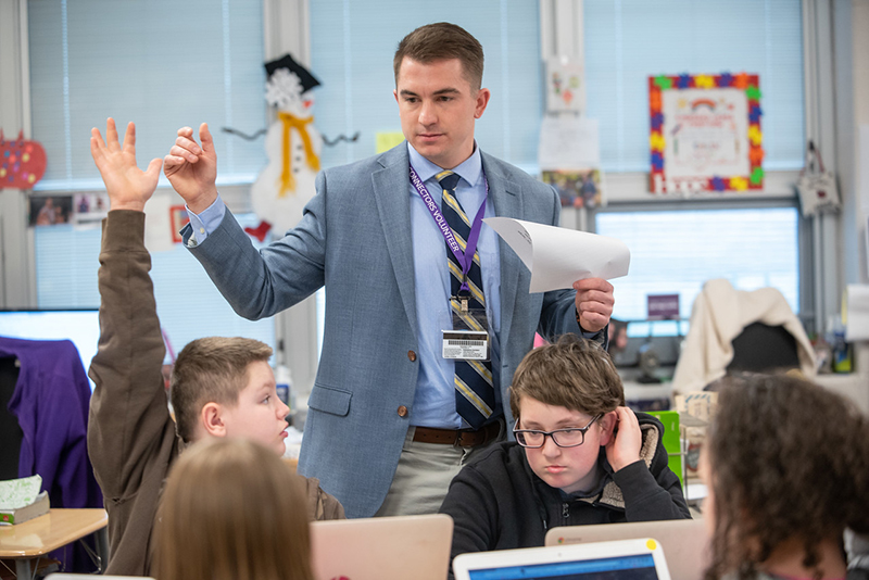 A University of Akron student teacher in a classroom