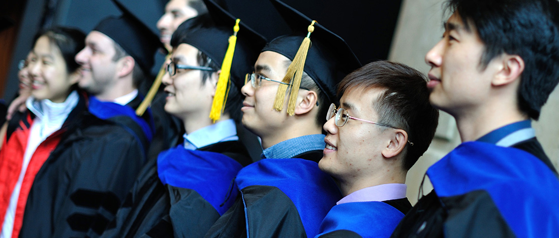 International students during a graduation ceremony at The University of Akron