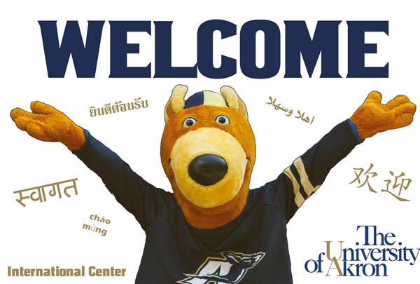 Welcome poster with the university's mascot, Zippy