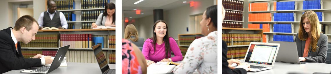 Students in the University of Akron School of Law library