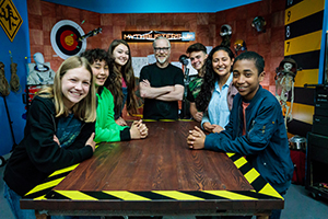 Rubber Band Contest Alumni and Mythbuster Rachel Pizzolato with cast members