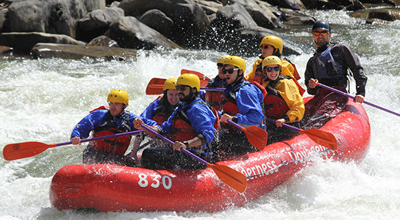 Image of students white water rafting
