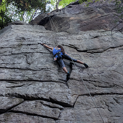 Person climbing at the New River Gorge