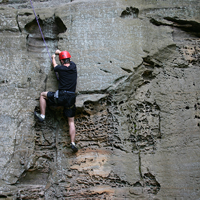 Person climbing at Whipps Ledges