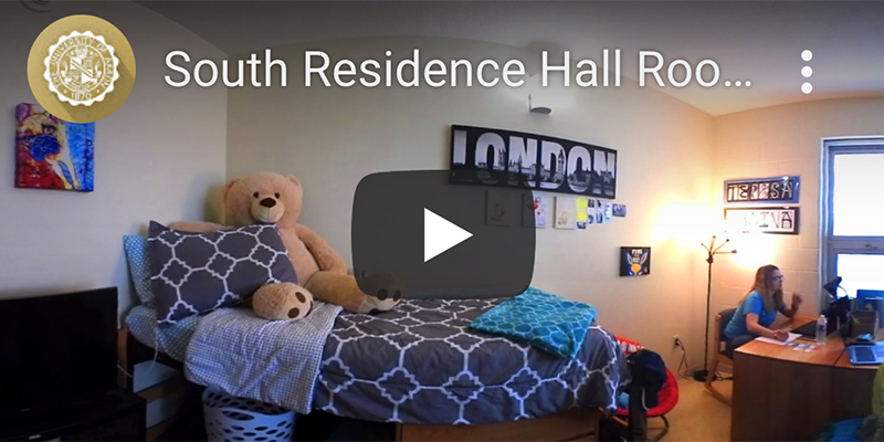 Thumbnail of a virtual tour inside a residence hall room