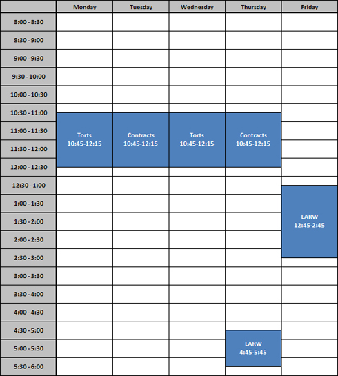 Part time sample day schedule