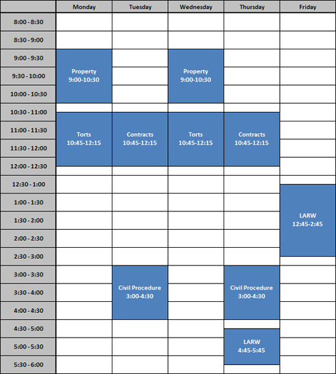 Full time sample schedule