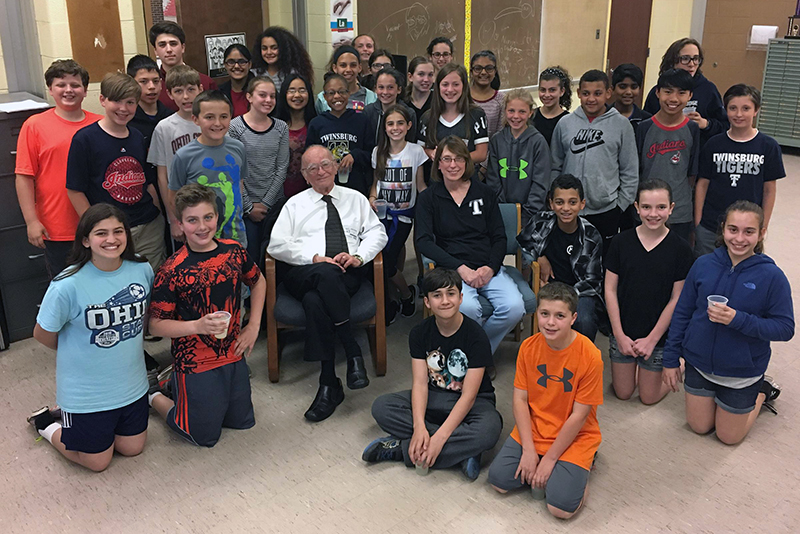 Dr. Joseph Kennedy and Dodge Intermediate students